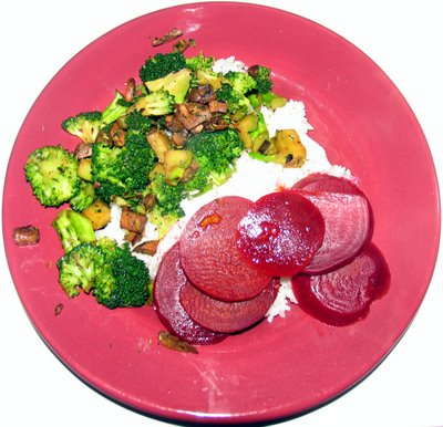 Sauteed Broccoli with Mushrooms. Also shown: beets and rice.