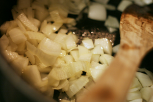 Cooking Onions for Butternut Squash Soup