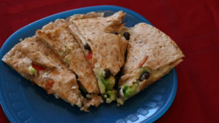 Black Bean, Avocado and Red Pepper Quesadillas for Two