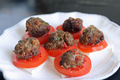 Sundried Tomato and Red Pepper Meatballs appetizer