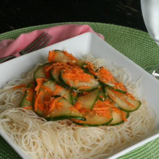 Cucumber and Carrot Salad with Seasoned Rice Noodles