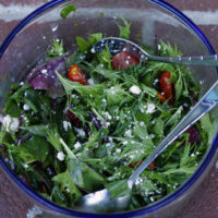 Mustard Greens and Beet Greens Salad with Herb Vinaigrette