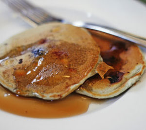 Very Berry White Chocolate Buttermilk Silver Dollar Pancakes