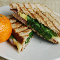 Ham, Swiss, Avocado and Spinach Panini for One
