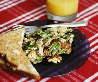 Mushroom, Asparagus and Swiss Scramble