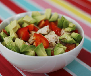 Chicken, Avocado and Red Pepper Rice Bowl