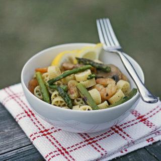 Asparagus, Shrimp and Mushroom Pasta
