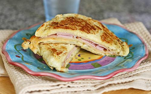 Grilled Cheddar and Ham Sandwich on an Onion Roll