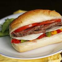 Easy Steak, Veggie and Mozzarella Sandwich