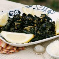 Braised Dinosaur Kale with Shallots, Lemon and Romano