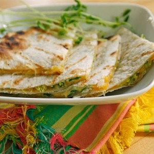 Grilled Quesadillas with Pea Shoots