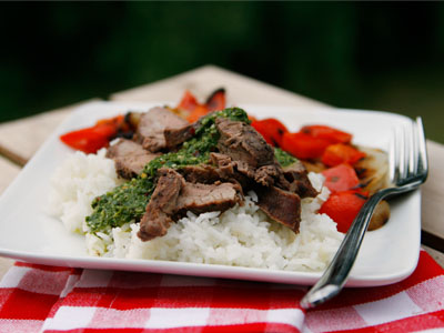 Red Wine Marinated Flank Steak with Basil Chimichurri