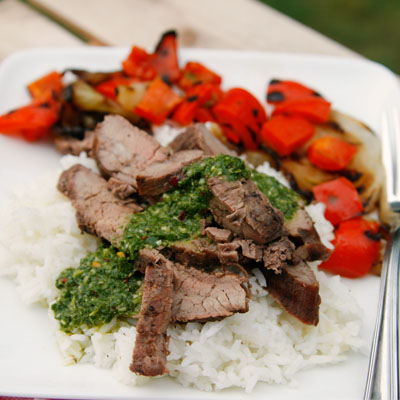 Red Wine Marinated Flank Steak with Basil Chimichurri recipe