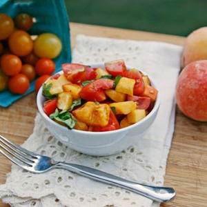 Tomato, Peach and Basil Salad