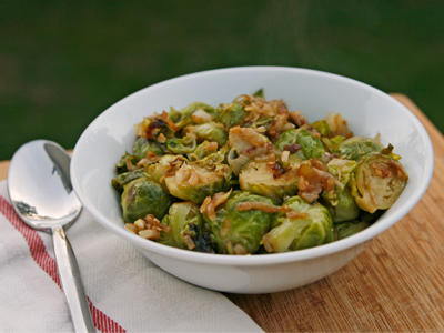 Braised Brussels Sprouts with Shallots and Parmesan