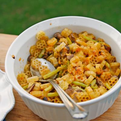 Mushroom, Wax Beans and Cheddar Pasta Bake - Sarah's Cucina Bella