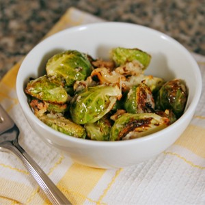 Roasted Brussels Sprouts with Walnuts and Asiago Cheese For One