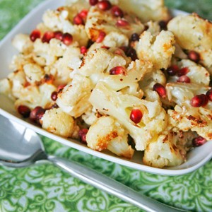 Roasted Cauliflower with Blue Cheese, Garlic and Pomegranate