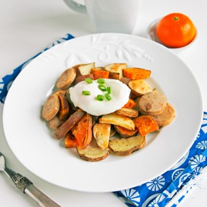 Roasted Two Potato and Chicken Sausage Hash with Poached Egg