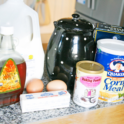 Ingredients for Maple Corn Muffins