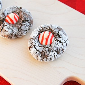 Cocoa Peppermint Thumbprint Cookies