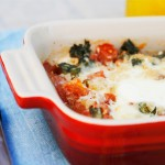 Baked Eggs with Roasted Garlic, Tomatoes and Basil