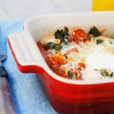 Baked Eggs With Roasted Garlic, Tomatoes And Basil Recipes ...