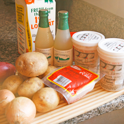 Ingredients for Lighter New England Clam Chowder