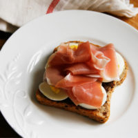 Egg and Prosciutto Open Faced Sandwich with Tapenade