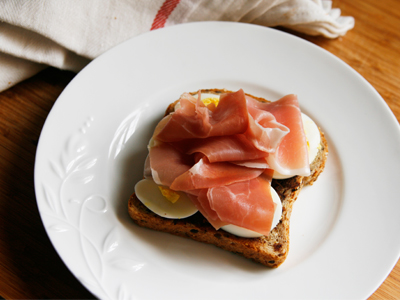 Egg and Prosciutto Open-Faced Sandwich with Tapenade