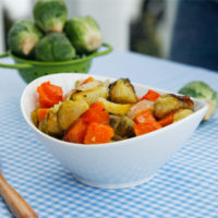 Roasted Butternut Squash, Brussels Sprouts and Onions