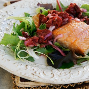 Honey-Tart Cherry Glazed Salmon with Rustic Tart Cherry Salsa