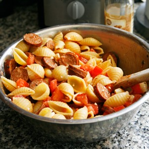 Toss Together Chorizo, Feta and Tomato Pasta