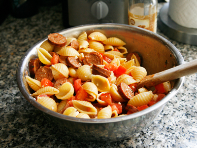 Toss Together Chorizo, Feta and Tomato Pasta - Sarah's Cucina Bella