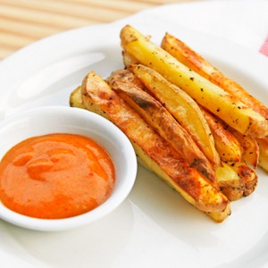 Crispy Salt and Pepper Oven Fries with Curry Dipping Sauce