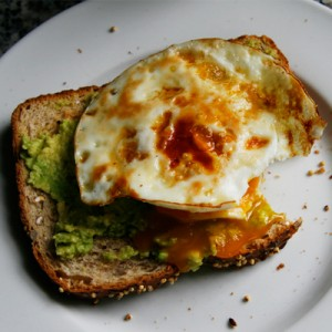 whole grain toast mashed avocado fried egg