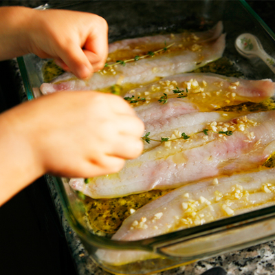 Oven poached flounder with garlic and olive oil sarah 39 s for White fish fillet recipe
