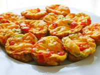 mini red pepper scallion fritattas