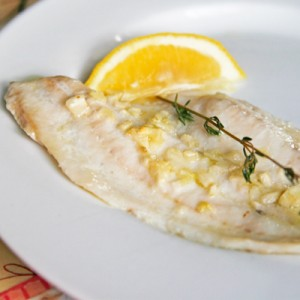 olive oil garlic flounder