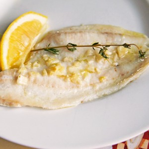 olive oil garlic poached flounder