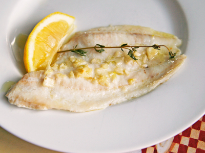 Oven Poached Flounder with Garlic and Olive Oil