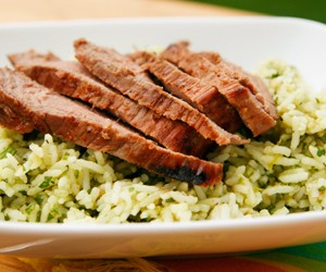Avocado, Cilantro and Lime Rice with Santa Fe Chili London Broil
