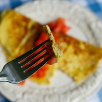 At it's thinnest part, this omelet is at least twice as thick as my crepe-style ones at their thickest.