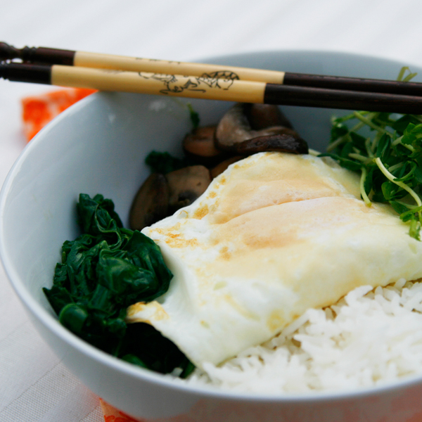 Swiss Chard, Pea Shoot and Mushroom Rice Bowls with Runny Eggs - Sarah ...
