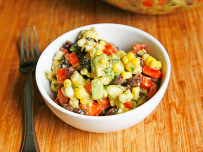 Creamy Black Bean, Red Pepper and Corn Salad with Avocado and Cilantro