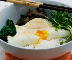 Swiss Chard, Pea Shoot and Mushroom Rice Bowls with Runny Eggs