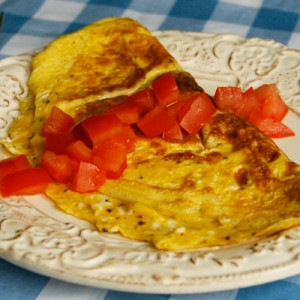 Three Cheese Almost Rolled Omelet With Tomatoes Sarah S