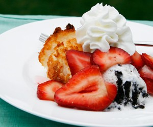 Cookies and Cream Strawberry Shortcake with Toasted Angel Food Cake