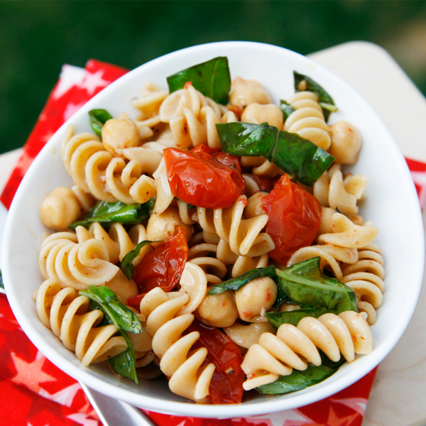 Roasted Tomato, Basil and Chickpea Pasta Salad - Sarah's Cucina Bella