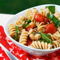 Roasted Tomato, Basil and Chickpea Pasta Salad